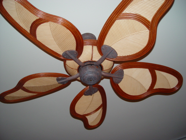 Design ceiling fan with blades wicker material